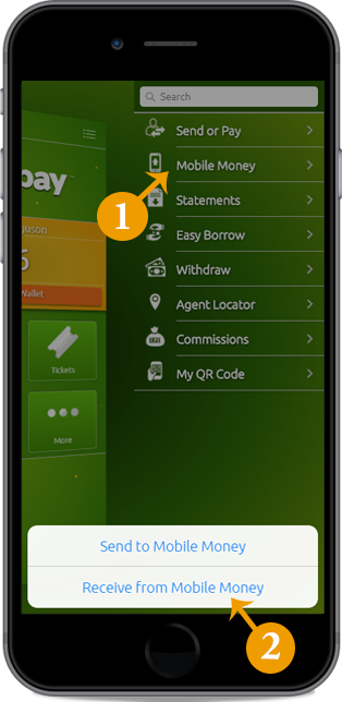 Transfer mobile money into Easypay